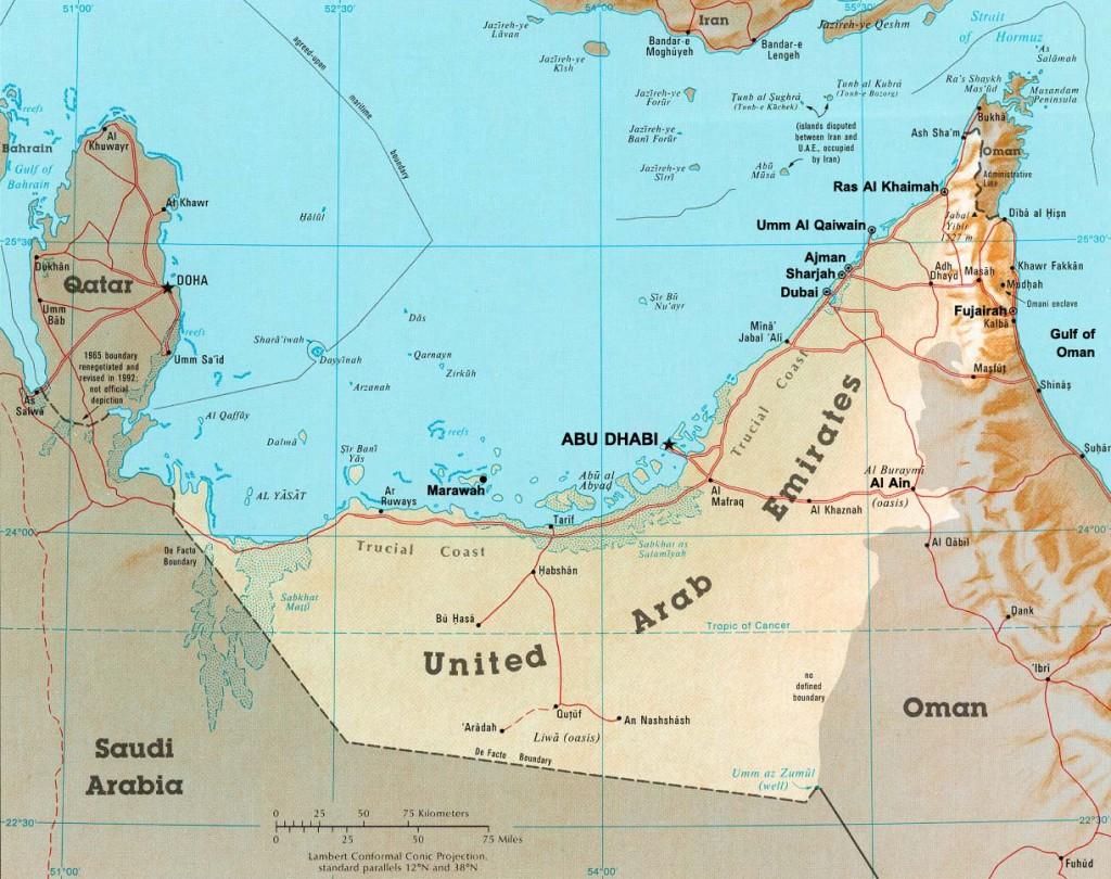 Meet the Emirates besides Dubai and Abu Dhabi UAE map edited 1024x810