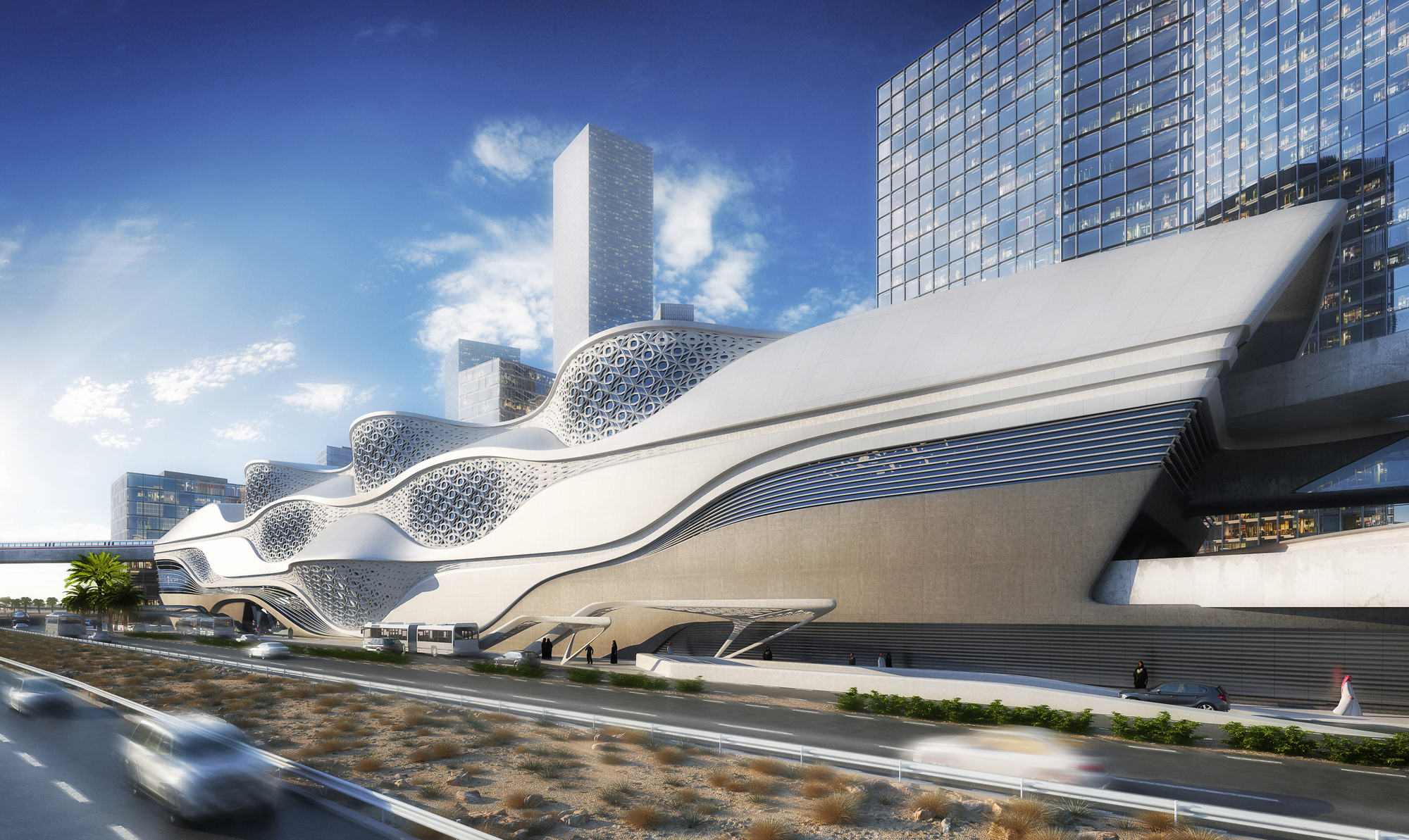 Zaha hadid architects selected to design the king abdullah for Architecture organique
