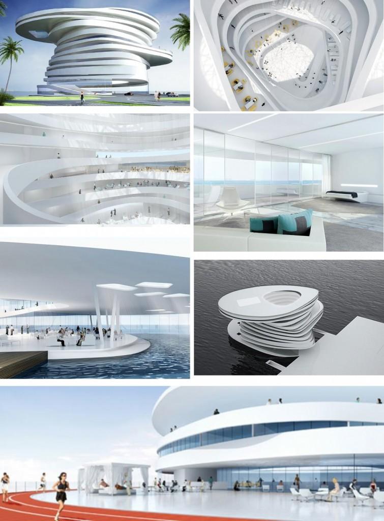 Unique Design Of Helix Hotel In Abu Dhabi the velvet rope studio architecture leeser architecture  helix 755x1024