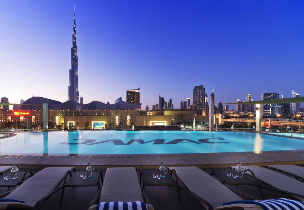 DAMAC Maison on Dubai Mall Street Now Open DAMAC Maison Pool ExteriorBurjView 1024x710