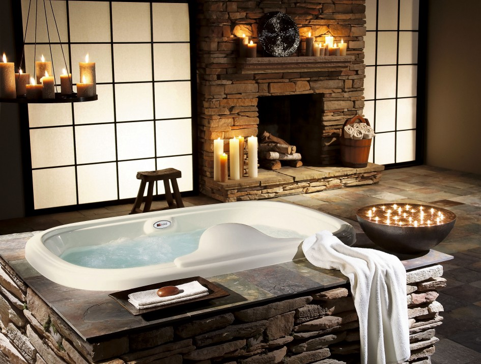 stone walls 60 Sensational bathrooms with natural stone walls bathroom elegant contemporary white bathtub with exciting natural stone wall and traditional log chair also sensational candle pendant marvelous home interior design ideas for bathrooms 945x715