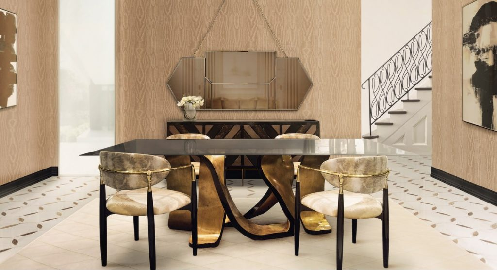 dining table Discover How Can a Golden Dining Table Transform a Contemporary Home ribbon dining table koket projects 2 e1533201238859 1024x556