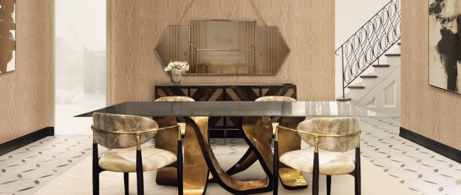 dining table Discover How Can a Golden Dining Table Transform a Contemporary Home ribbon dining table koket projects 2 e1533201238859 650x275
